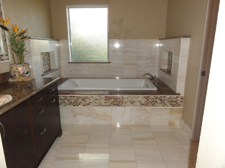 Here Is The End Result Of The Master Bath Renovation (before And After).  The Tile Chosen For This Master Bathroom Is A Gorgeous White Onyx Marble  With A ...